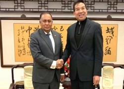 Chinese Vice Foreign Minister Luo Zhaohui meets with outgoing Sri Lankan Ambassador