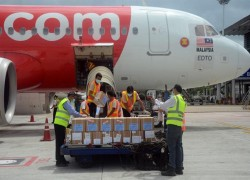Special flight bringing WHO laboratory equipment arrives in Yangon