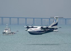 China's home-grown large amphibious aircraft AG600 makes 1st sea-based test flight