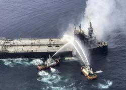 Pay $2.7m firefighting bill before you can leave, Sri Lanka tells stricken oil tanker