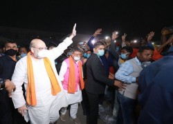 AMIT SHAH REACHES WEST BENGAL, WILL SHARE LUNCH WILL TRIBAL COMMUNITY