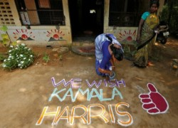 Harris's ancestral village in India hopeful as Biden leads count