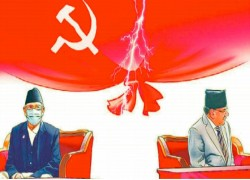 Nepal Communist Party has been cleaved in two, but a formal–legal–split seems to be heading to stalemate