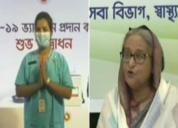 YOU ARE VERY BRAVE, PM SHEIKH HASINA LAUDS FIRST VACCINE RECEIVER NURSE