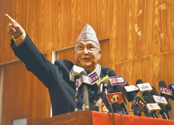 The fate of elections is up in the air, but Oli already seems to be in campaign mode