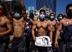 Macho macho man: Myanmar's shirtless gym junkies join anti-coup rally