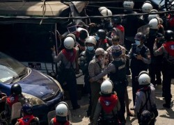 MYANMAR POLICE FIRE RUBBER BULLETS TO DISPERSE PROTESTERS IN YANGON
