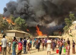 Massive fire sweeps through Rohingya refugee camp in Bangladesh