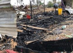 Eighteen shanties of rohingya refugees razed in massive fire in Jammu