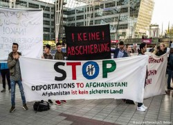 DEMONSTRATORS GATHER AT BERLIN AIRPORT TO PROTEST DEPORTATION FLIGHT TO AFGHANISTAN