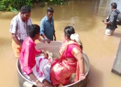 India: Couple in flood-hit Kerala sail to wedding in cooking pot
